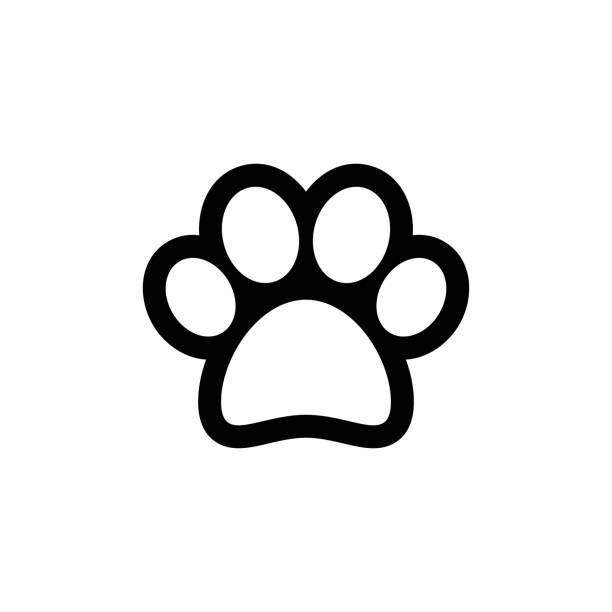 bildbanksillustrationer, clip art samt tecknat material och ikoner med djur tass vektor symbol - valp
