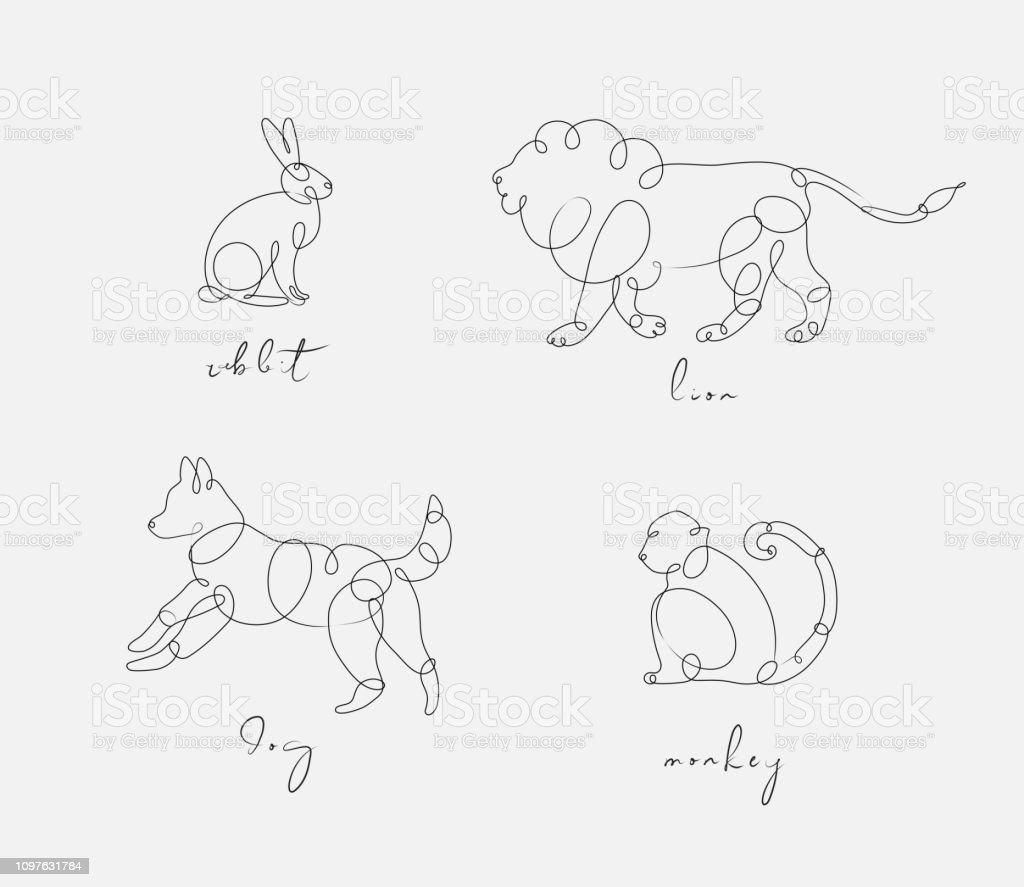 Set of animals rabbit, lion, dog, monkey drawing in pen line style on...
