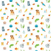 Animal Pets Grooming Flat Colorful Seamless Pattern