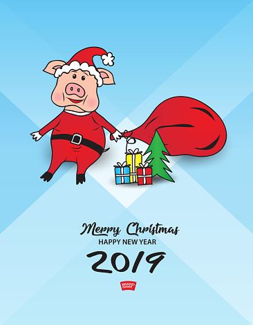 Animal Pig Cartoon Christmas Style Theme Elements 2019 New