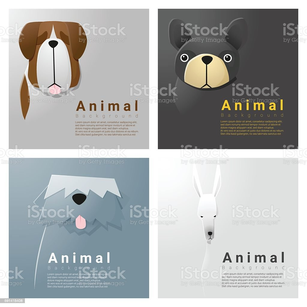 Animal portrait collection with dogs 3 vector art illustration