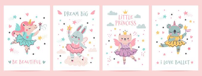 Animal princess in tutu. Magic fairy unicorn, bunny, cat and koala in ballet dresses. Scandinavian nursery ballerina print design vector set