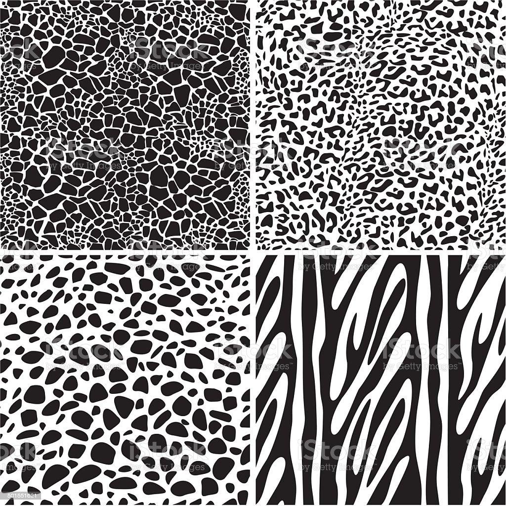 Tier Set Nahtlose Muster – Vektorgrafik