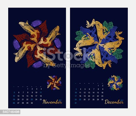 istock Animal printable calendar 2017 with flora and fauna fractals 540746498
