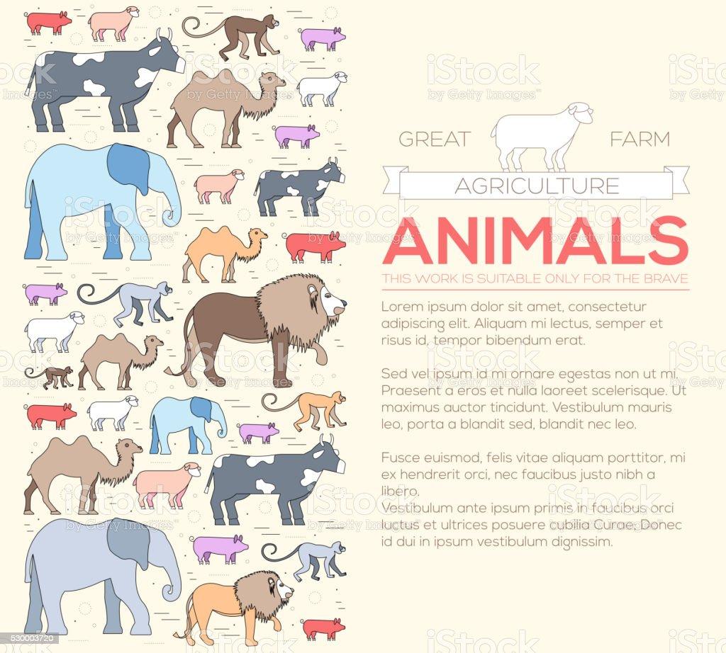 Animal Redondo Concepto De León Mono Mono Y Camello Elefante Vaca ...