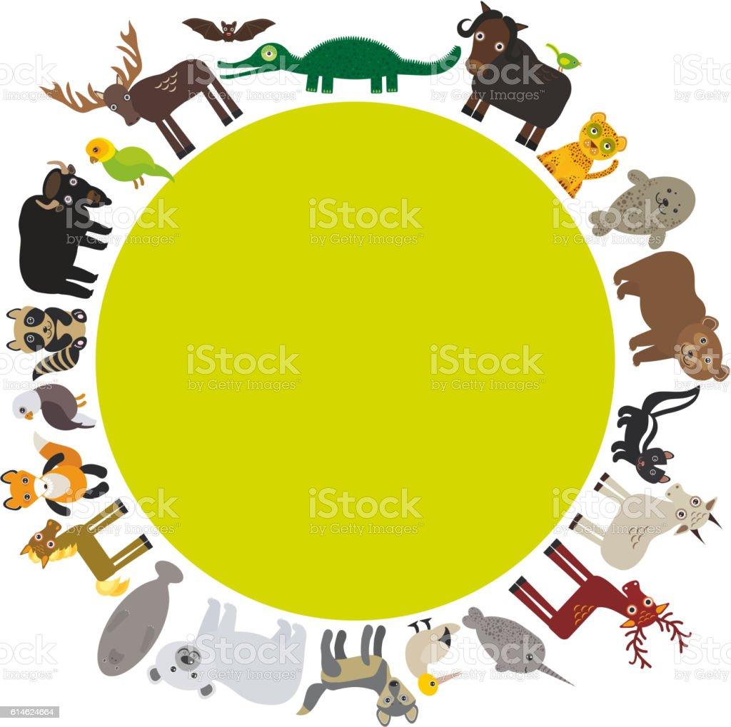 Animal round frame, bat fox elk horse wolf fur seal vector art illustration
