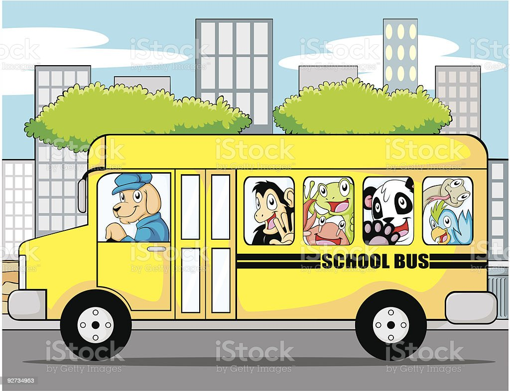 Creative and fun illustration of an animal school bus in the city....