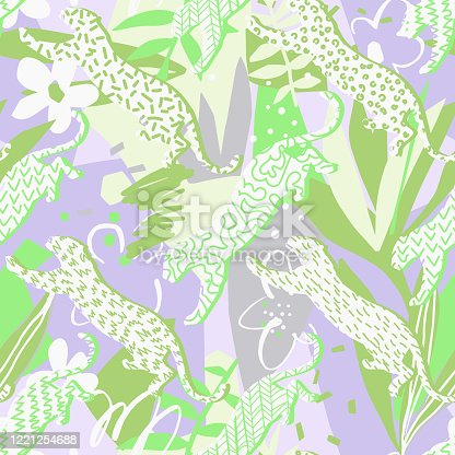 istock Animal seamless pattern. Leopards. 1221254688