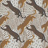istock Animal seamless pattern. Leopards. 1221254859