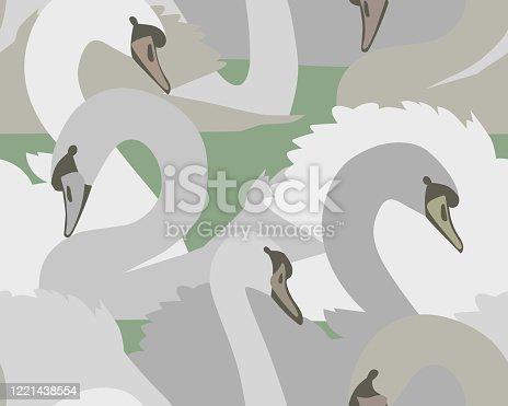 Animal seamless pattern. Swans. Flat design.