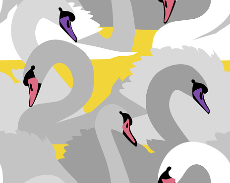 Animal seamless pattern with swans. Flat style wildlife background with beautiful birds. Textile and fabric design.