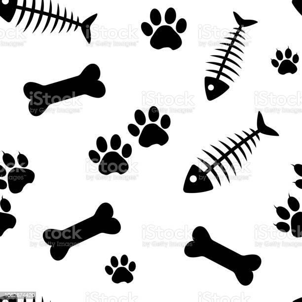 Animal seamless pattern with fish bones and cat paw track bones and vector id1062674420?b=1&k=6&m=1062674420&s=612x612&h=v5jnxhu0krzwwheqpigtqwrtt6n kcr6dgpdhvir1ta=