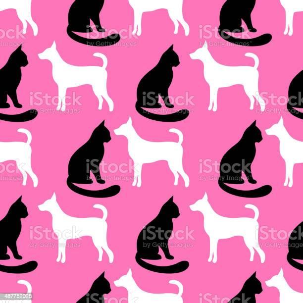 Animal seamless vector pattern of cat and dog silhouettes vector id487752028?b=1&k=6&m=487752028&s=612x612&h=wvzgqpslfuyva2ivwbauyzogaj7l sqvb32su2bejka=