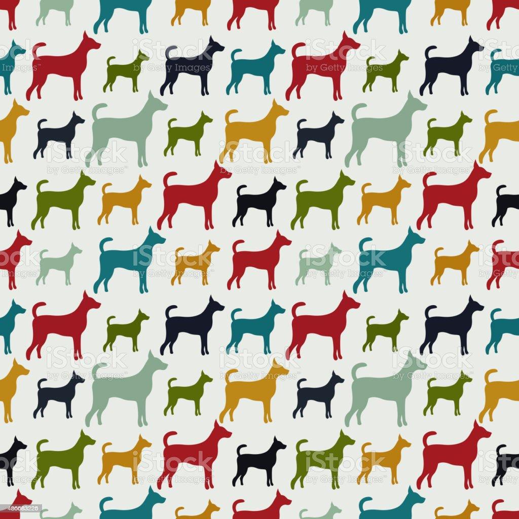 Animal seamless vector pattern of dog silhouettes vector art illustration