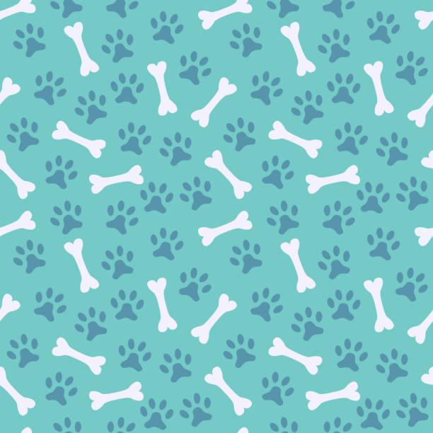 stockillustraties, clipart, cartoons en iconen met animal seamless vector pattern of paw footprint and bone. endles - hondenkluif