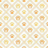 Animal seamless vector pattern of paw footprint, line and dot. Endless texture can be used for printing onto fabric, web page background and paper or invitation. Dog style. White and orange colors.