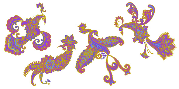 Animal set. Fantasy Birds collection in Paisley style. Ornate design.