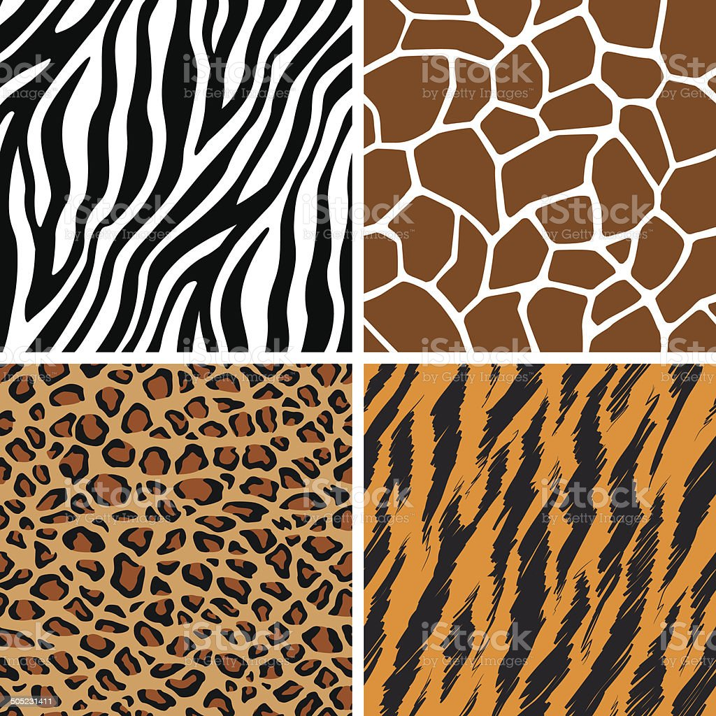 Animal Set - Giraffe, Leopard, Tiger, Zebra Seamless Pattern vector art illustration