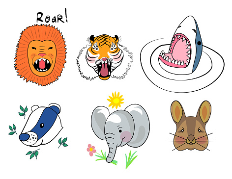Animal set illustration print.
