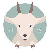Animal set. Portrait in flat graphics - Goat