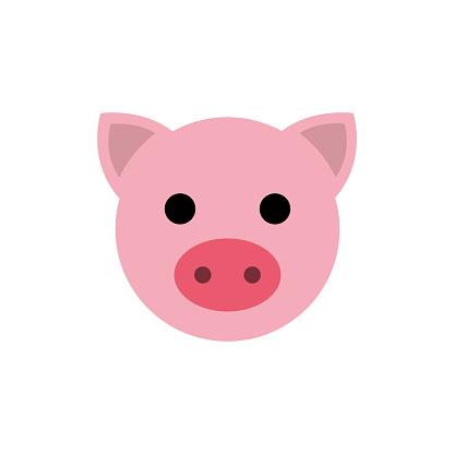 Animal set. Portrait in flat graphics. Pig