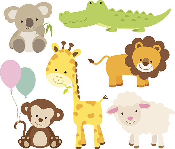 tier set - tierkinder stock-grafiken, -clipart, -cartoons und -symbole