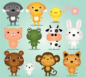 A set of cute baby animals. Zip contains AI and PDF formats.