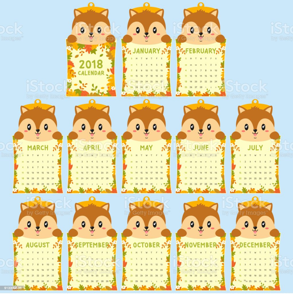 Animal Shaped 2018 Calendar Template Cute Squirrel Autumn Calendar
