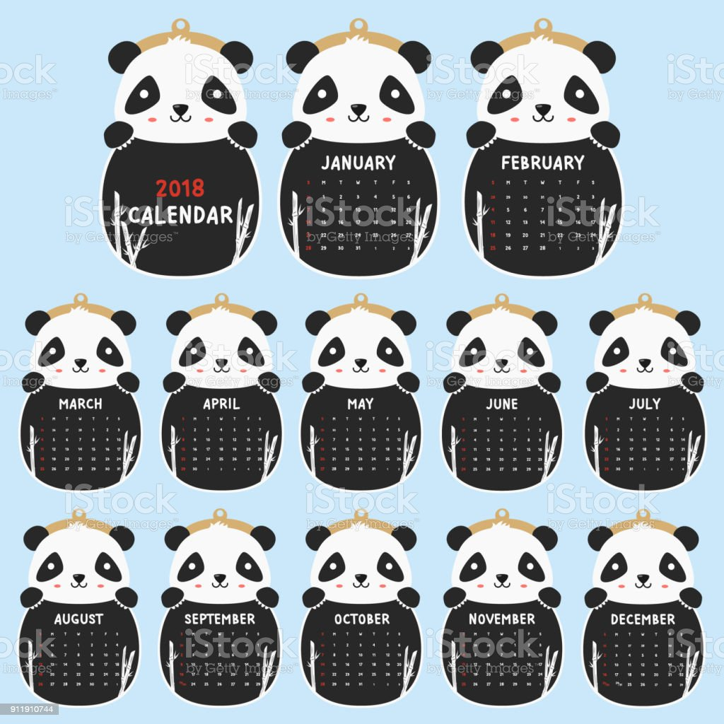 2018 Animal Shaped Calendar. Cute Panda, Black and White 2018 Calendar Cartoon Vector vector art illustration