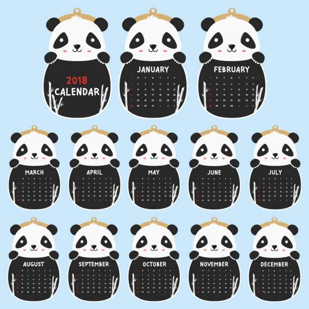 ilustrações, clipart, desenhos animados e ícones de 2018 animal em forma de calendário. panda bonito, preto e branco 2018 calendário cartoon vetor - calendário de vida selvagem