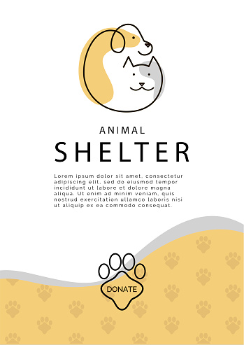 Animal Shelter poster template. Vector logo with cat and dog silhouette. Donation button.