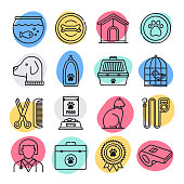 Animal Shelters & Veterinary Clinics Doodle Style Vector Icon Set