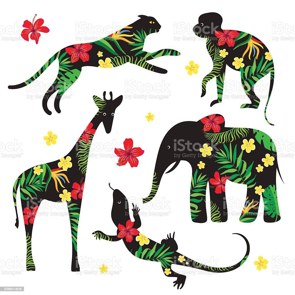 動物シルエットに花柄 のイラスト素材 538641846   istock