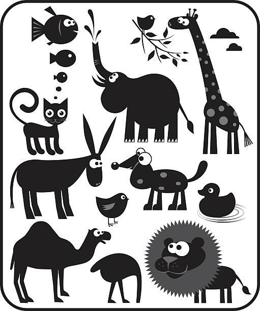 tierischen silhouetten - giraffenhumor stock-grafiken, -clipart, -cartoons und -symbole