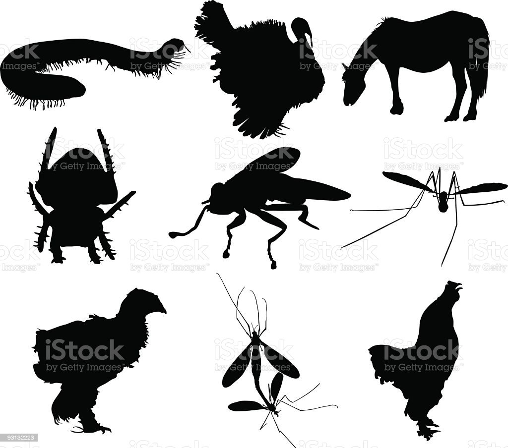Animal silhouettes royalty-free stock vector art