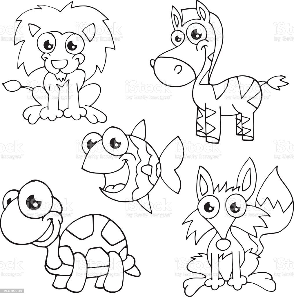 Animal Sketch Drawing Characters Set For Colouring Book Royalty Free