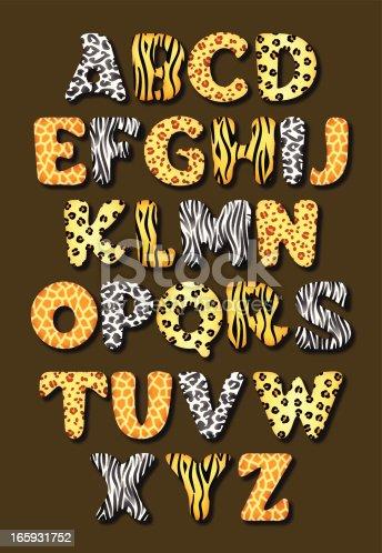 Alphabet in various african animal skins. EPS10 file.