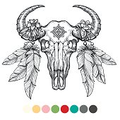 Hand drawn animal skull coloring design with color swatches on white background. Vector illustration