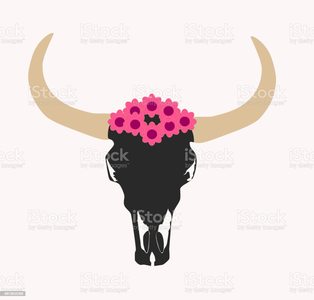 Animal skull, Cow's head vector illustration with flowers vector art illustration