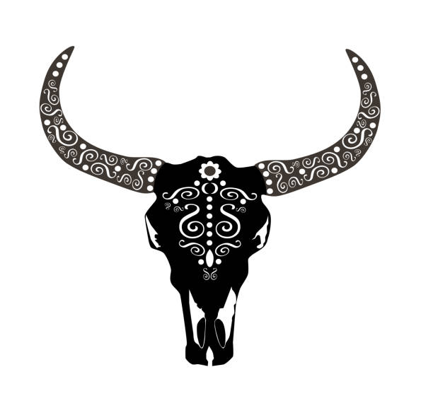 Animal skull icon, cows head with ornament details, vector illustration vector art illustration