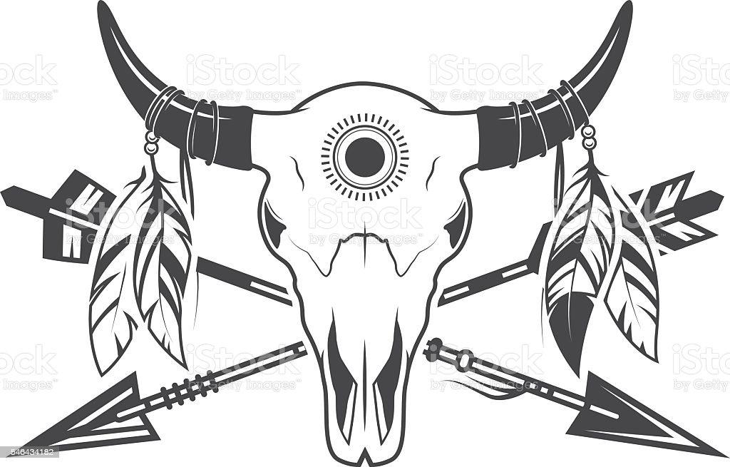 Animal skull with arrows vector art illustration