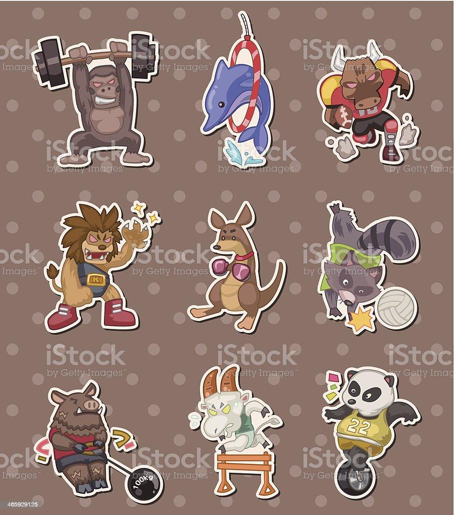 animal sport player stickers vector art illustration