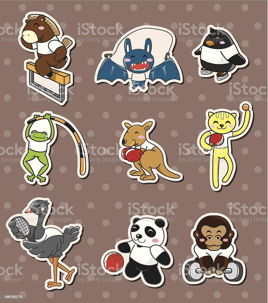 animal sport stickers vector art illustration