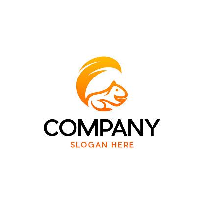 Animal Squirrel Orange Color Logo Design
