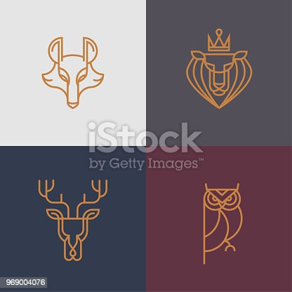 This thin line animal logo/icon set contain - deer, owl, wolf, lion