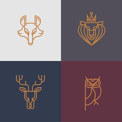 Animal Thin line logo/icon set