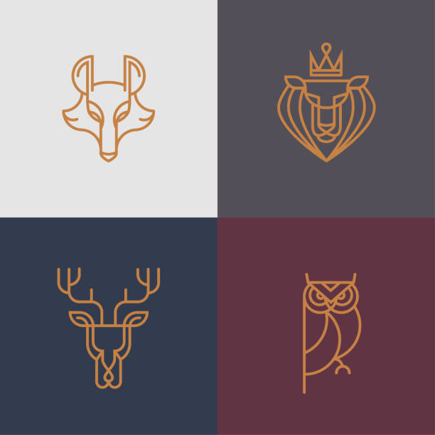 animal thin line logo/icon set - sowa stock illustrations