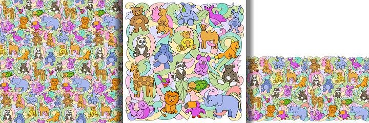 Animal Toys print, seamless pattern and border