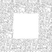 Animal outline toys on abstract wave background seamless frame pattern. Fun wallpaper for coloring books, textile prints, greeting cards with text place.