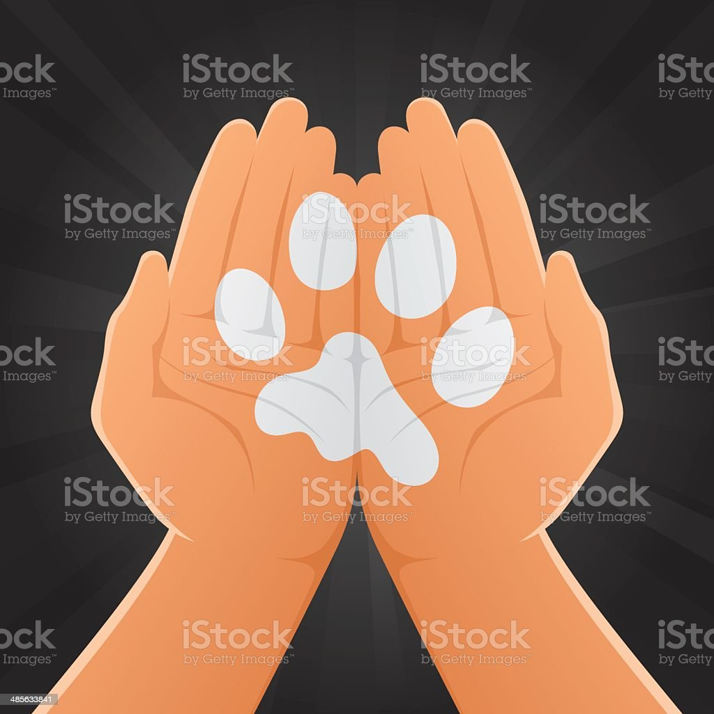 Animal Track Painted on Hands royalty-free stock vector art